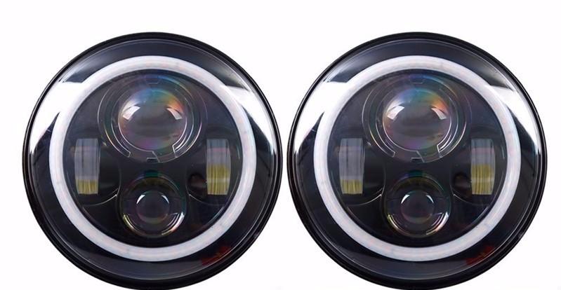 7 inch Round H4 40W Hi Lo Beam Headlamp 7 Black Projector Headlight Led Halo Eyes For Wrangler JK TJ Defender_conew1