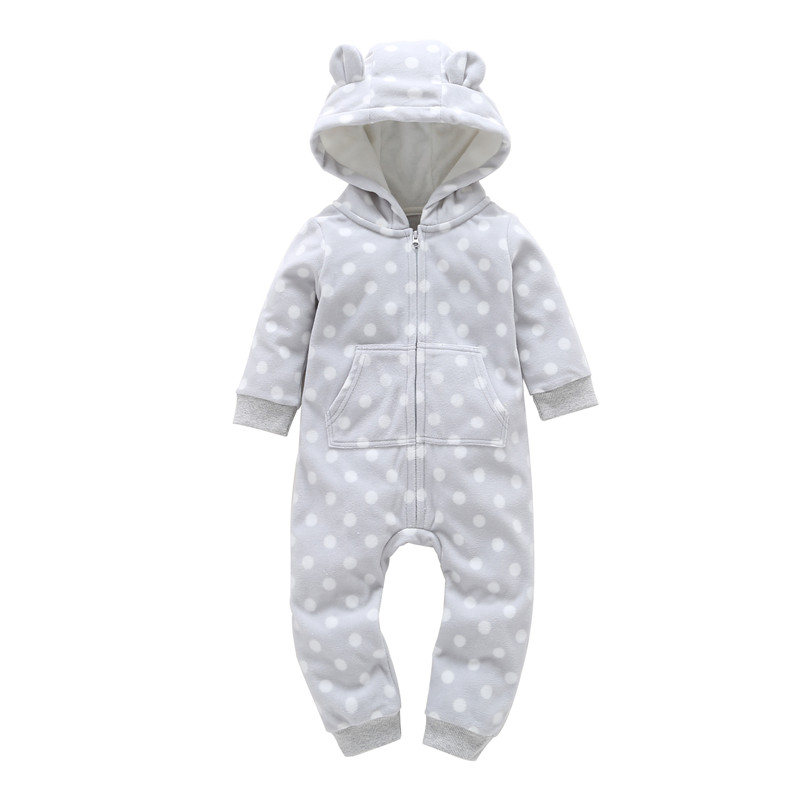 2018 New Hot Sale Full Autumn Winter Kids Boys Long Sleeve Dot Zipper Hooded Jumpsuit Newborn Boy Girls One Piece Clothes Baby