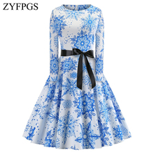 ZYFPGS 2019 New Ladies Dress Blue And White Porcelain Womans Long Warm Chinese Style Fashion Belt Round Neck Hot Z1112