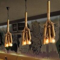 Подвесные Светильники В индустриальном стиле светильник нордические сельские винтажные подвесные лампы креативная бамбуковая Подвесная