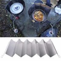 2020 caliente 12 placas de estufa de Gas plegable protección del viento parabrisas herramienta portátil al aire libre pantalla útil de cocción dividida Camping al por mayor