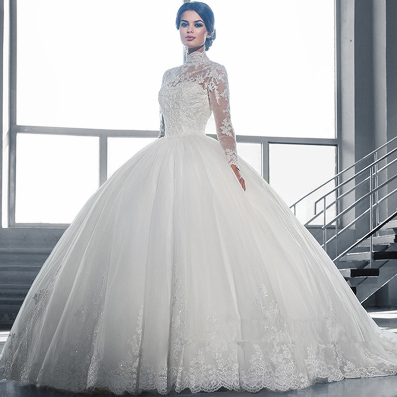 Beautiful White Ball Gown Wedding Dress Lace Sheer Neckline Long ...