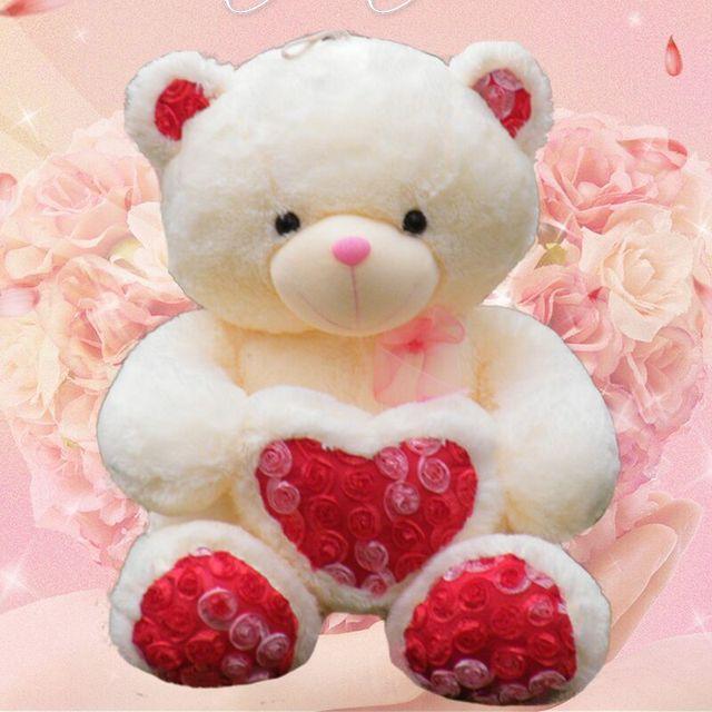 2017 New 60 And 80CM Free ShoppingTeddy Bear Plush Wedding Bear Love Toy  Doll Bear Rose