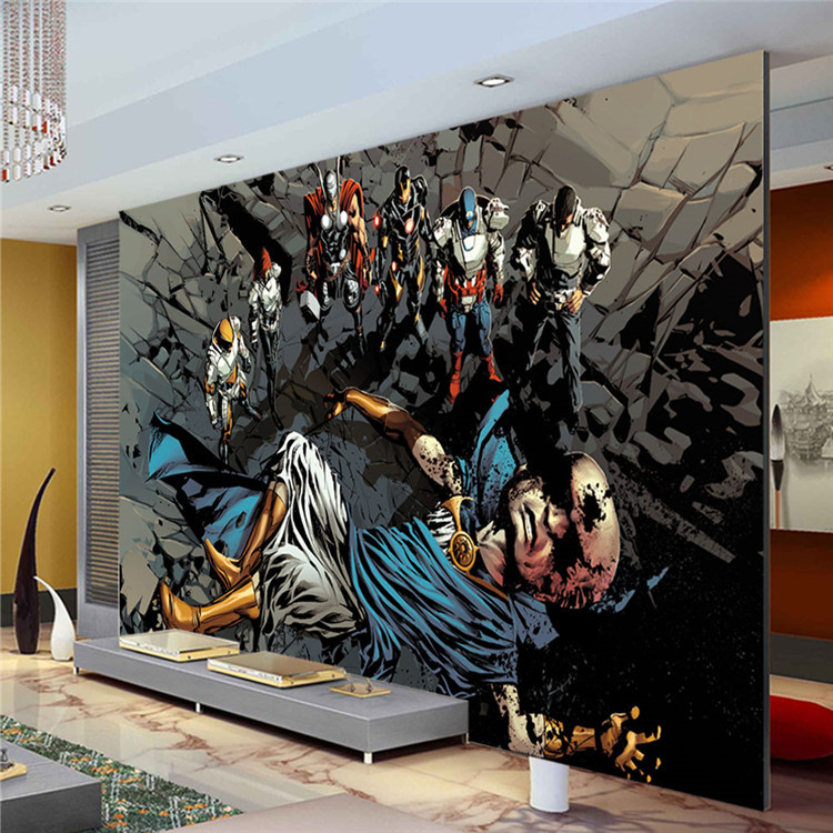 Justice league photo wallpaper superhero wall mural custom for Comic book wallpaper mural