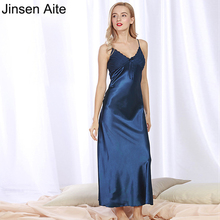 Jinsen Aite Summer Style Women Sexy Mid-Calf Nightgown Spaghetti Strap Slim Nightdress Plus Size 3XL Dresses Home Clothes JS112