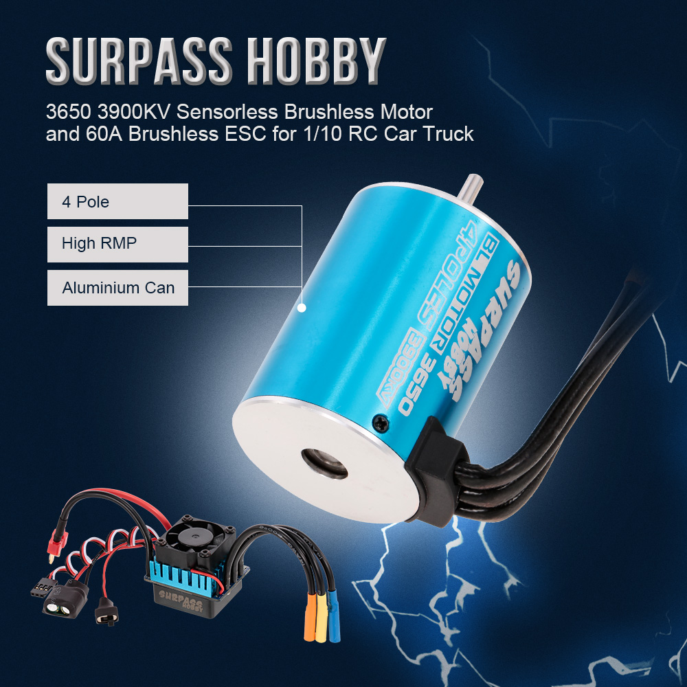 RC Car Brushless Motor 3650 3900KV Sensorless 60A Brushless ESC for 1 10 RC Car RC