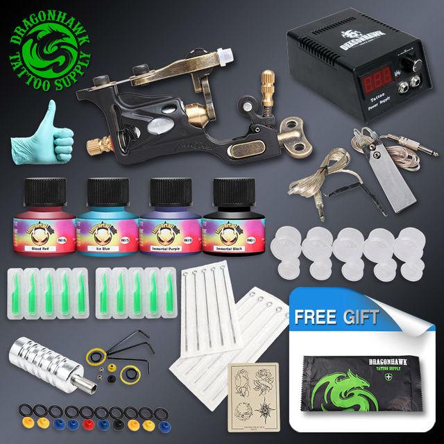 Complete Tattoo Kit 1 Professional Rotary Tattoo Machine Gun 4 Inks Needles Power Supply