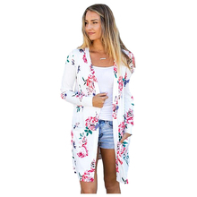 Women's New Casual Spring Autumn Floral Print Long Sleeve Ladies Pockets Cardigan Loose Casual Open Stitch Fashion Outerwear contrast color fashion two pockets loose outerwear
