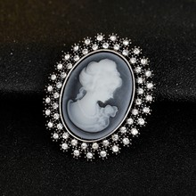Retail!Clear Austria Crystal Rhinestone Vintage Style Fashion Victorian Style Cameo Brooch Lady Scarf Brooch Pins Hot Selling(China)
