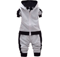 Kids 2018 Spring Autumn New Boys And Girls Children S Cotton Long Sleeved Hooded Jacket Trousers