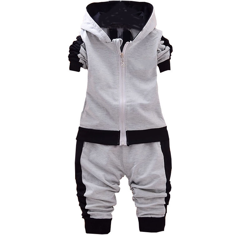 kids 2018 Spring Autumn new boys and girls children' s cotton long - sleeved hooded jacket + trousers baby boy clothes children s spring and autumn girls bow plaid child children s cotton long sleeved dress baby girl clothes 2 3 4 5 6 7 years