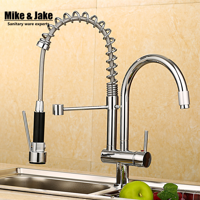 Wholesale And Retail Chrome Finished Pull Out Spring Kitchen Faucet Swivel Spout Vessel Sink Mixer Tap good quality chrome finished pull out