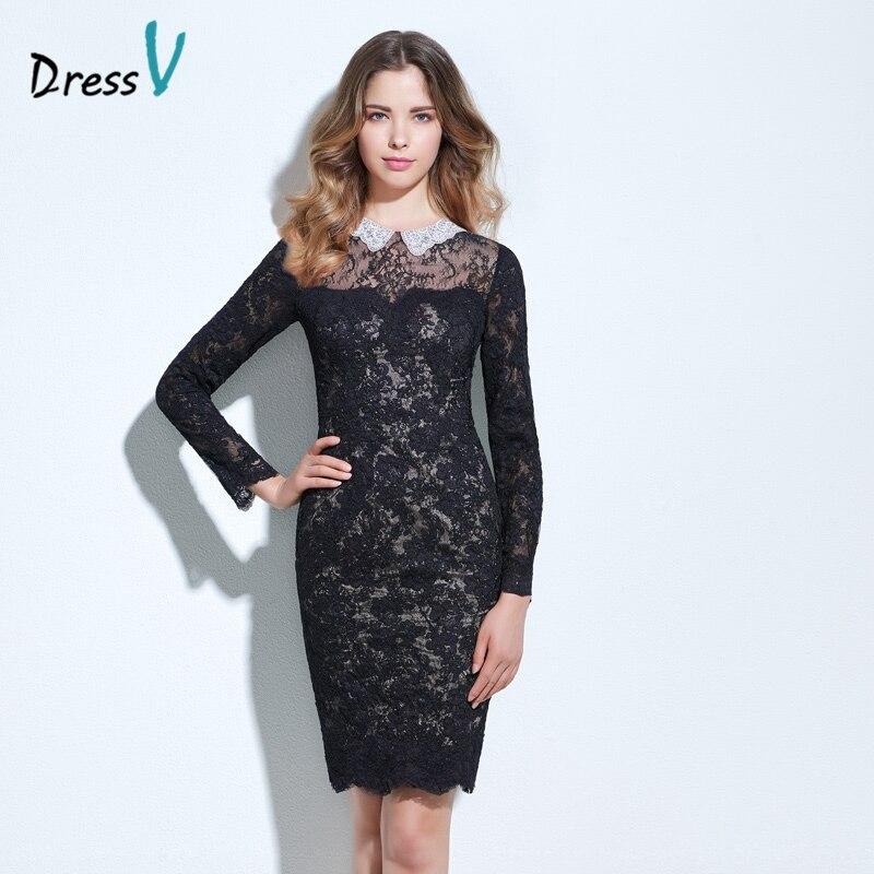 Dressv Black Sheathcolumn Lace Cocktail Dress Scoop Neck Long