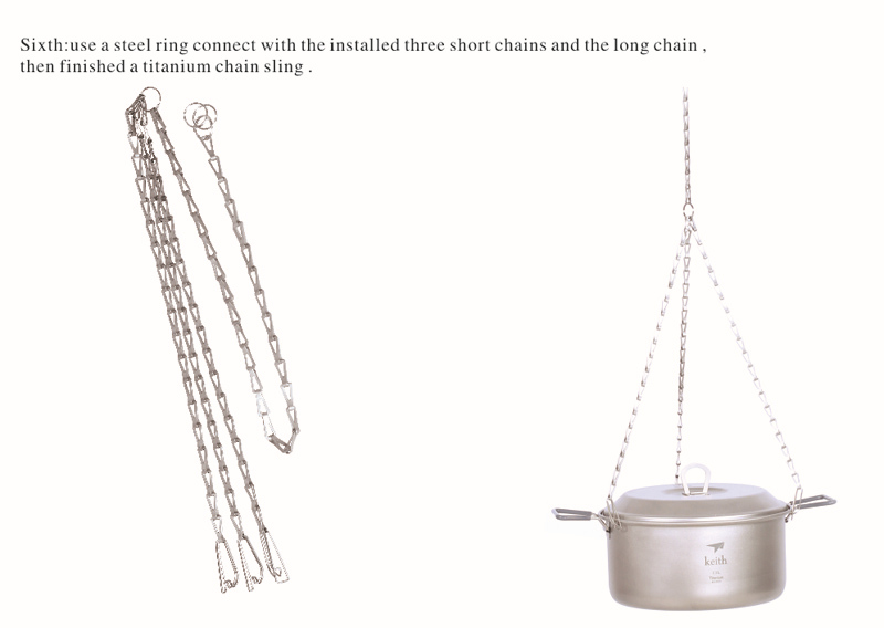 Keith titanium cadena colgante cookware que acampa colgante cadena sólo 38g kp60