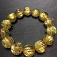 16mm Genuine Natural Gold Hair Rutilated Quartz Bracelet Crystal Round Beads Stretch Wealthy Lucky Stone Gift AAAAA Certificate