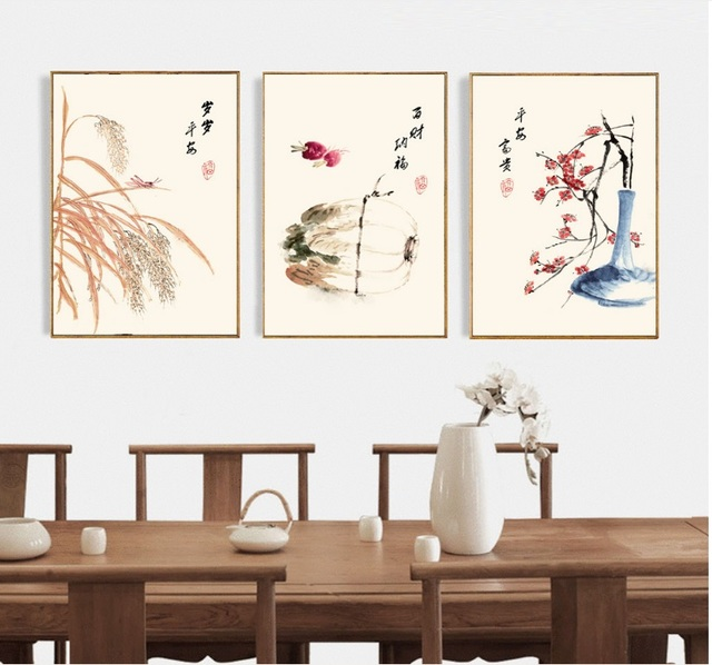 New Chinese Painting Flowers and Birds 3 Pieces Wall Art Print Picture Canvas Painting Poster for Living Room No Framed