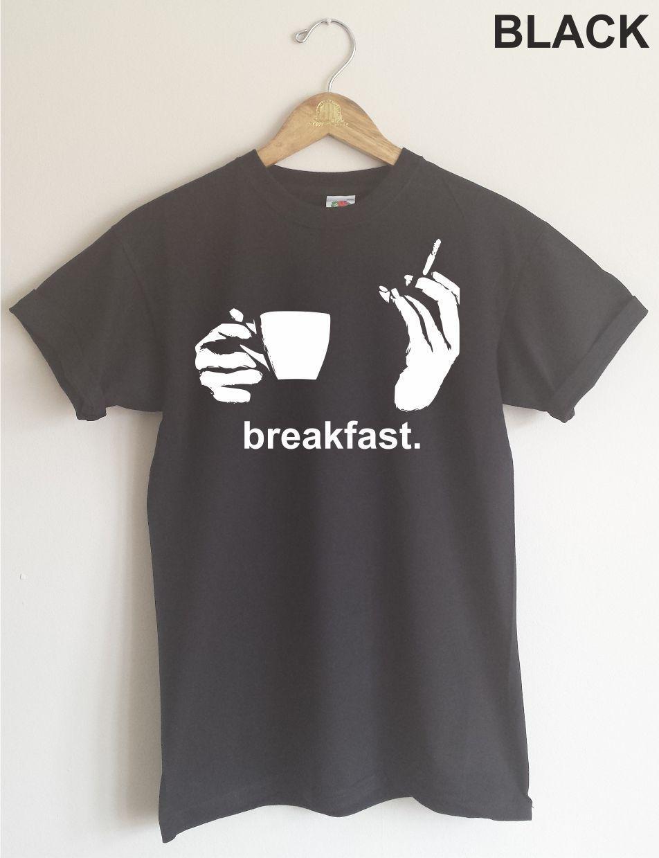 2018 Hot Sale Breakfast Camiseta - Cafe Y Cigarette, Humor, Varias Tallas & Colores Tee Shirt