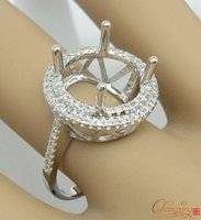 ROUND 11 50mm SOLID 14k WHITE GOLD PAVE SET NATURAL DIAMOND SEMI MOUNT RING