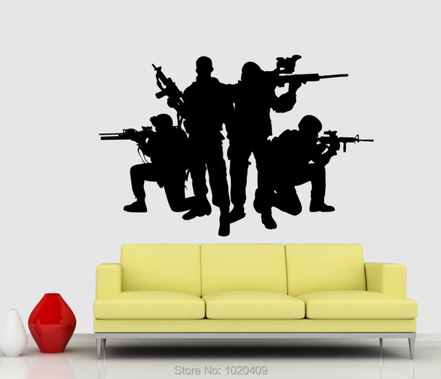 T1330 Army Soldier Silhouette Designs Wall Vinyl Sticker Caligraphy Quotes  Home Cut Sticker Mural Removable Carve Sticker