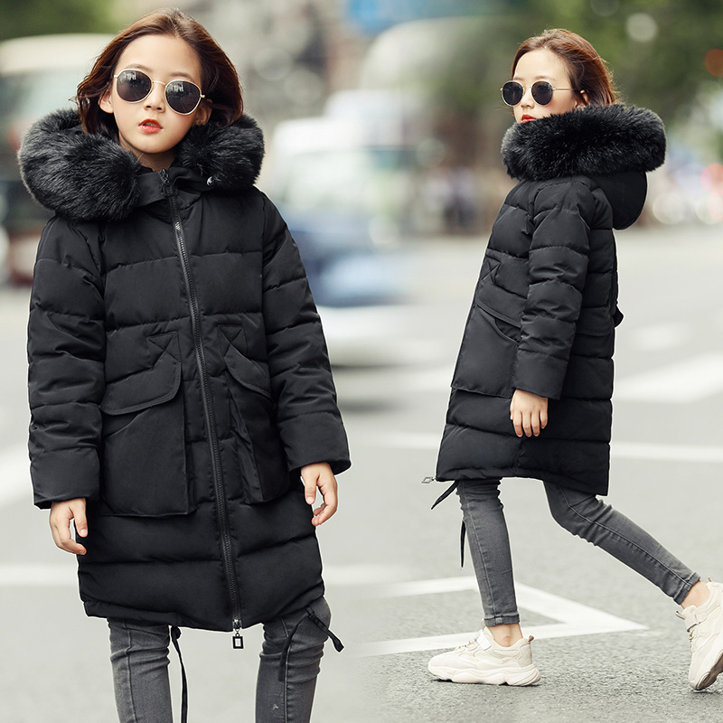 New 2018 Kid's Girls Winter Coats Thick Fashion Fur Hooded Warm Girls Solid Black Gray Down & Parkas Jacket Winter Clothes 10 12 2017 winter women jacket down new fashion long sleeve hooded thick warm short coat slim big yards female autumn parkas ladies242