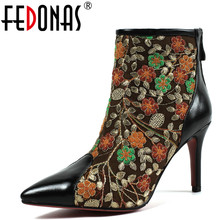 FEDONAS 1Fashion Women Ankle Boots Genuine Leather Autumn Winter Warm High Heels Shoes Woman Pointed Toe Embroider Basic Boots(China)
