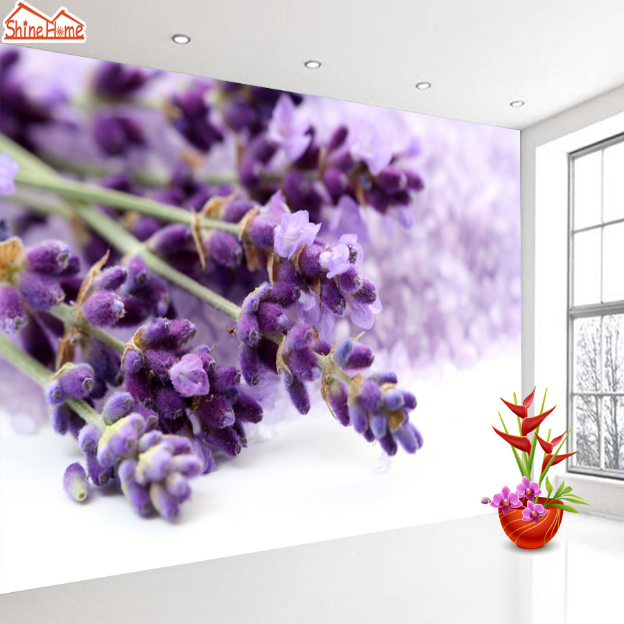 ShineHome-Purple Lavender Blossom Nature Wallpaper Rolls for 3d Walls Wallpapers for 3 d  Living Room Home Wall Paper Murals shinehome lovely lily blossom flower wallpaper for bedroom murals roll for 3d walls wallpapers for 3 d living room wall paper