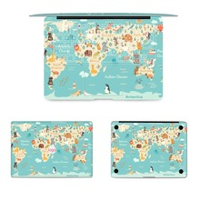 GOOYIYO - 4pcs/Set Laptop Full Sticker Top Bottom US EU Keyboard Vinyl Decal World Map Skin For Macbook Air Retina Pro & Film