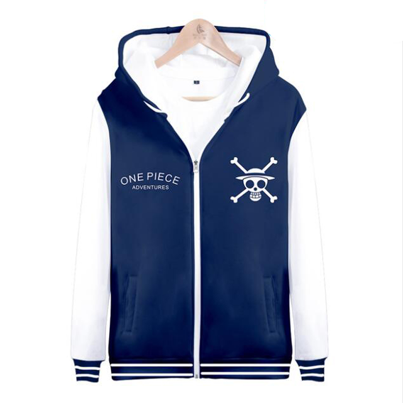 Anime Hoodies One Piece Luffy 3D Printed Hooded Sweatshirt Men Japanese Streetwear The Pirate King Zipper Jackets Funny Clothing