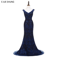 E JUE SHUNG Navy Blue Sequin Beaded Luxury Mermaid Evening Dresses Long 2018 Evening Gowns Formal Dresses robe longue Real Dress