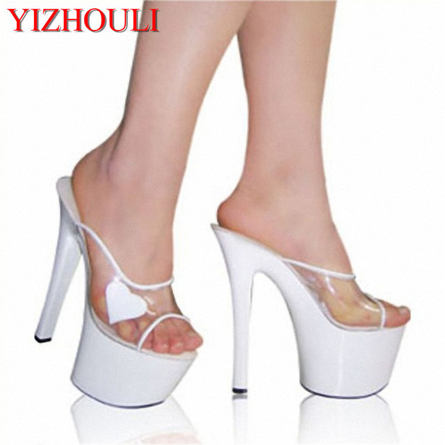 a5208e6c801 Women Gorgeous Summer Shoes 7 Inch Stiletto With Platform Stripper Shoes  17cm Heart-Shaped Clear Heels