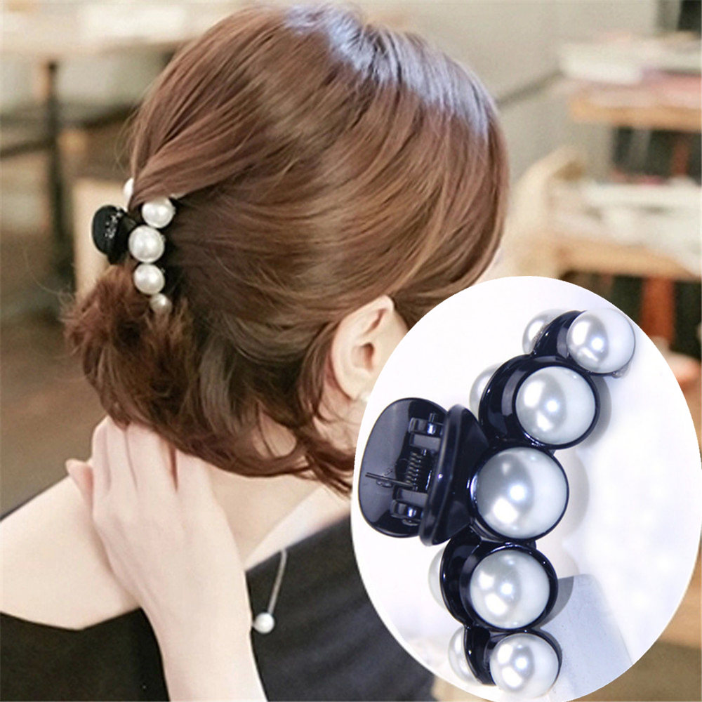 Girl's Hair Accessories Lovely Luxury Pearls Hairpins Hair Ornaments Trendy Hair Clip Shiny Rhinestone Crab Hair Claws For Women Girl Accessories Headwear
