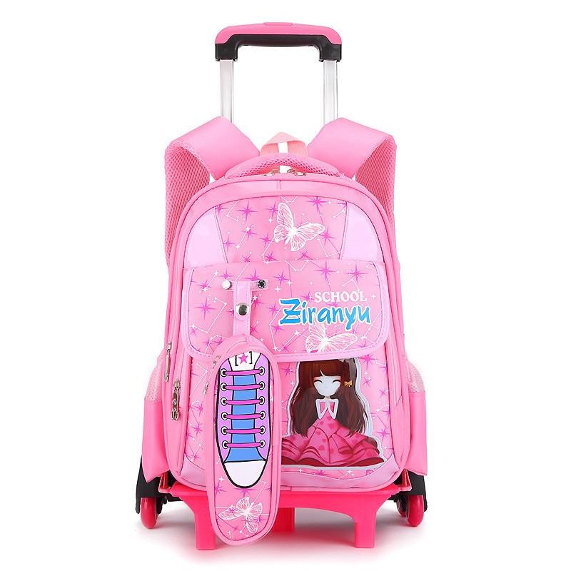 Nylon cartoon children school wheeled bags kids trolley backpacks mochilas infantis escolars feminina for teenagers girls boys