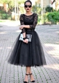 Sexy Black Tea Length Long Sleeve A line Lace Evening Dresses Tulle Formal Evening Gowns Dresses robe de soiree