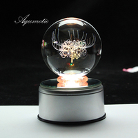 Aqumotic MP3 Music Box Mp3 Colorful Lights Night Can Download Songs Crystal Ball Music Boxes for Girls USB Charging Flower