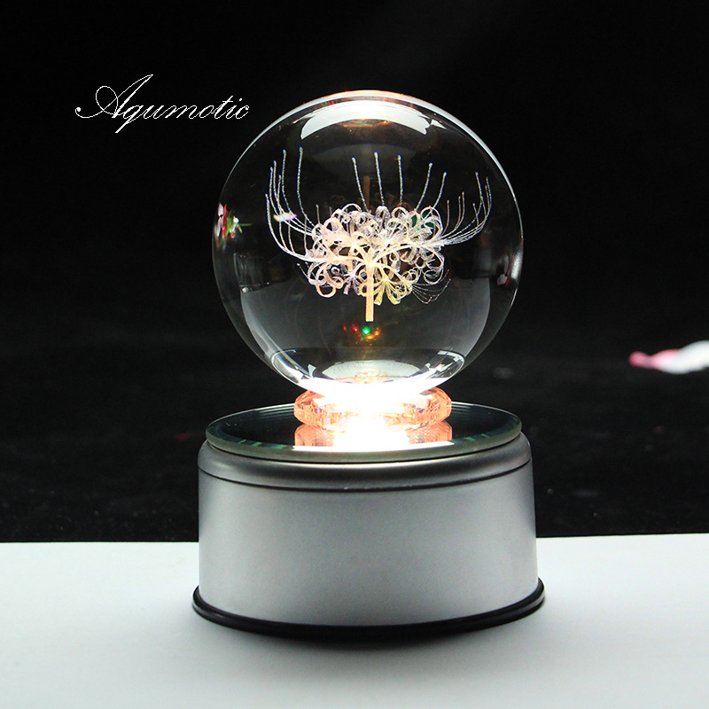 Aqumotic MP3 Music Box Mp3 Colorful Lights Night Can Download Songs Crystal Ball Music Boxes for Girls USB Charging Flower image