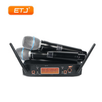 UHF Dual Wireless Microphone System 2 Handheld For Church Stage Speech Karaoke Fixed Frequency Stable Transmitter