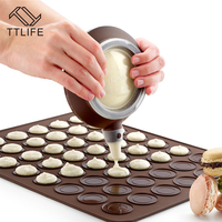 TTLIFE Silicone Baking Mat Macaroon Baking Mould Set Macaron Baking Sheet With Decor Pen 48 Circles