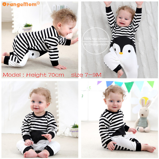 2019 Spring Autumn Baby Girl Brand Clothing Cotton Romper Clothes Children's Cartoon Penguin Baby Animal Girl Jumpsuit Romper 1