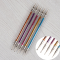 5 Шт./компл. двусторонняя Расставить Pen Liner Pen with Glitter Nail Art Маникюр Dot Инструмент