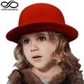 Fashion Kids Children Girls Wool Felt Trendy Round Top Bowler Derby Hat  Warm Lovely Casual Cap  (One Size:54cm)