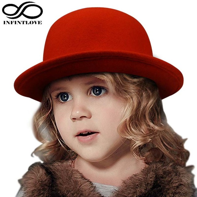 b898cef6e7aa4 LUCKYLIANJI Fashion Kids Children Girls Wool Felt Trendy Round Top Bowler  Derby Hat Warm Lovely Casual Cap (One Size 54cm)