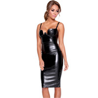 Sexy Club Dresses 2015 Women Faux Leather Bustier Pencil Celebrity Sexy Bodycon Dresses Black Padded Midi