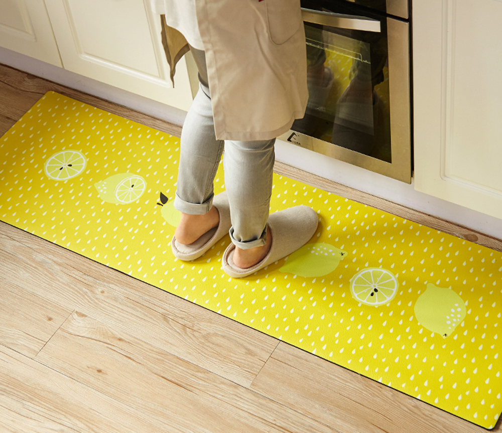 lemon kitchen rug island carts 3d donuts yellow 2 pieces set rubber backing non slip waterproof and proof oil washable bathroom