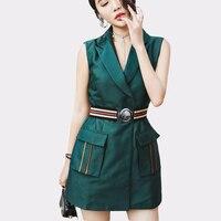 Summer Blazer Notched Collar Women Solid Elegant Dresses With Belt Office Ladies Fashion Vest Sleeveless Mini