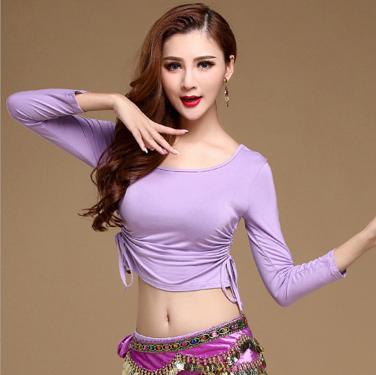 Modal Eastern Oriental Belly Dance Cropped Tops Shirts Drawstring Costume untuk Dijual Wanita Bellydance Dancing Clothes Dancer Wear