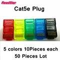 [RedStar] 50 UNIDS/LOTE Alta calidad chapado en oro de color conector rj45 UTP CAT5e RJ45 sin apantallar conector 5 colores x10 piezas de cada color