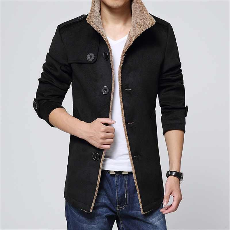 Модная брендовая шерстяная зимняя куртка, длинный плащ для мужчин, приталенное мужское пальто, плотный плащ цвета хаки, ветровка высокого качества
