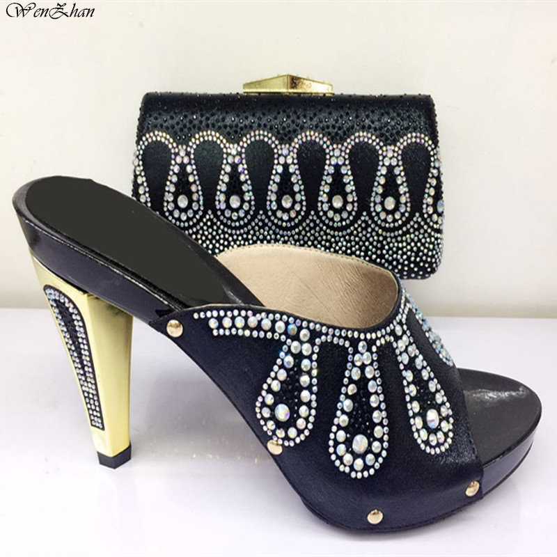 Newest Black Color Beautiful Shoes with Matching Clutch Bag Set Decorated with Rhinestone  Shoe and Bag Sets For Party 079-20Newest Black Color Beautiful Shoes with Matching Clutch Bag Set Decorated with Rhinestone  Shoe and Bag Sets For Party 079-20