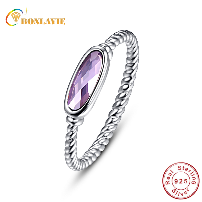 BONLAVIE Twisted Oval Amethyst Rings Authentic Solid 925 Sterling Silver Ring Women Wedding Engagement Jewelry CZ Stone Ring