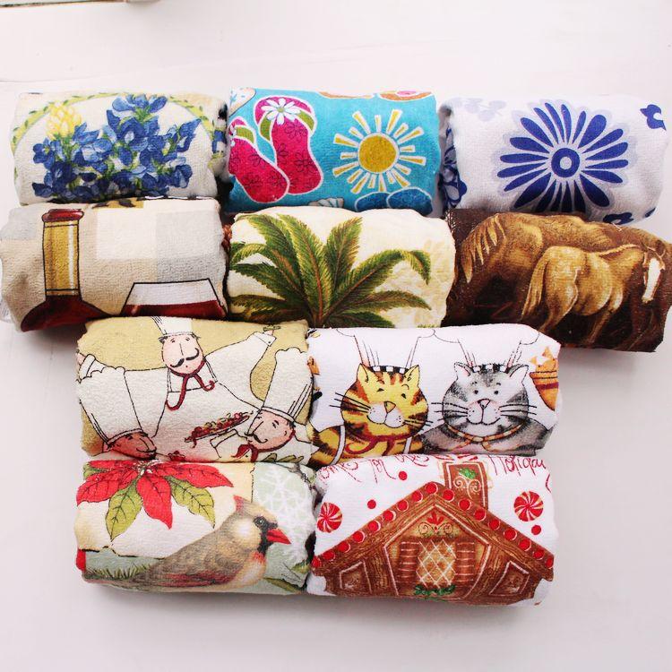 10pcs 100 Cotton European Country Designs Kitchen Towels Set As